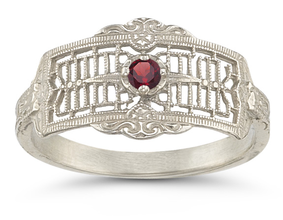 Vintage Filigree Ruby Ring in 14K White Gold