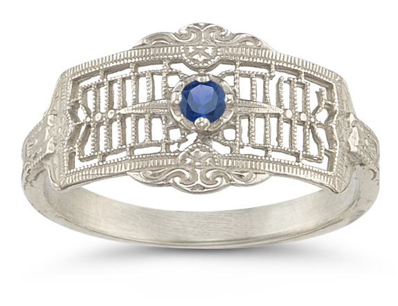 Vintage Filigree Sapphire Ring in 14K White Gold