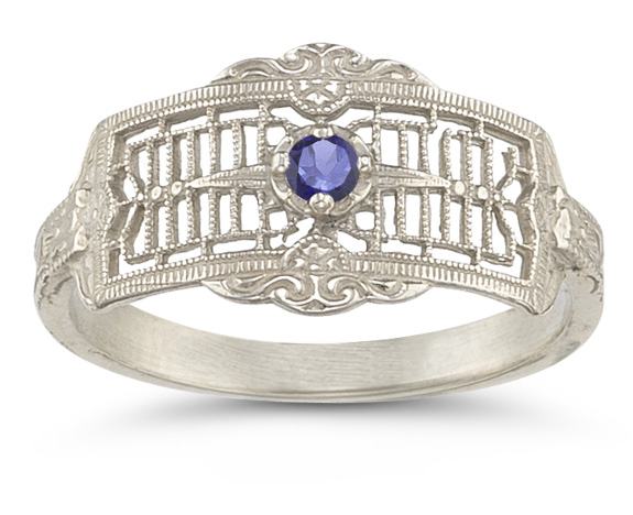 Vintage Filigree Tanzanite Ring in 14K White Gold
