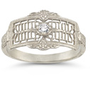 Vintage Filigree Diamond Band in 14K White Gold