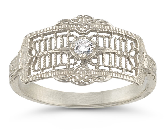 Platinum Vintage Filigree Diamond Band