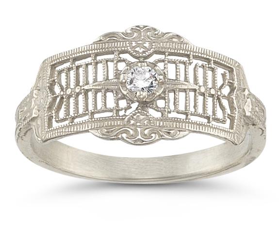 Platinum Vintage Filigree Diamond Band