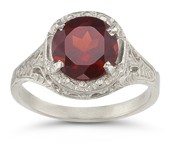 Vintage Floral Garnet Ring in 14K White Gold