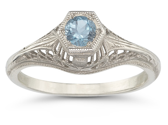 Vintage Art Deco Aquamarine Ring in 14K White Gold - FINAL SALE - Size 6