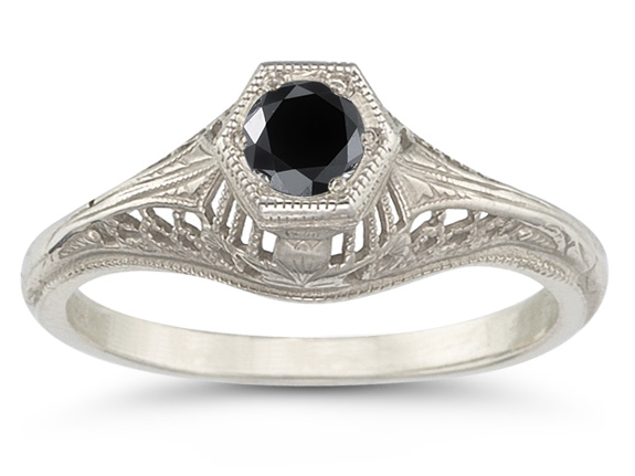 Vintage Art Deco Black Diamond Ring in .925 Sterling Silver