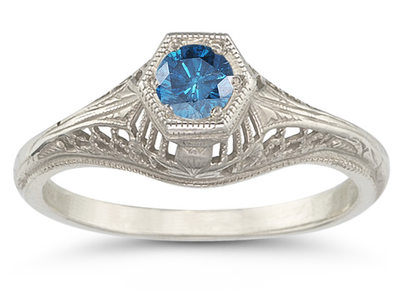 Vintage Art Deco 1/4 Carat Blue Diamond Ring