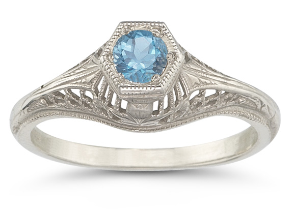 Vintage Art Deco Blue Topaz Ring