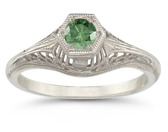 Vintage Art Deco Emerald Ring in .925 Sterling Silver