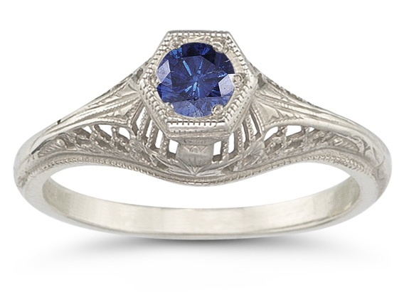 Vintage Art Deco Sapphire Ring in .925 Sterling Silver