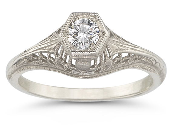 Platinum Vintage Art Deco 1/4 Carat Diamond Engagement Ring