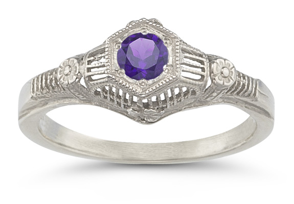 Vintage Floral Amethyst Ring in 14K White Gold