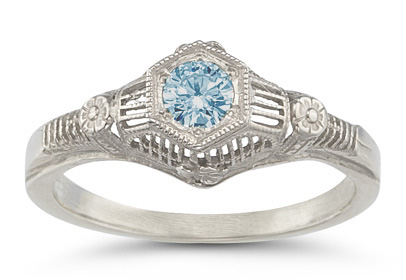 Vintage Floral Aquamarine Ring in 14K White Gold