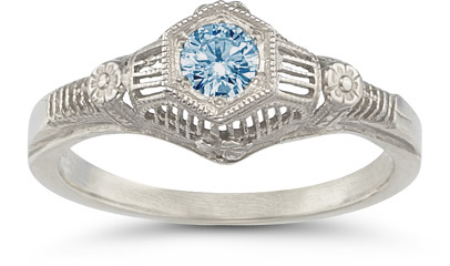 Vintage Floral Blue Topaz Ring in 14K White Gold (Rings, Apples of Gold)