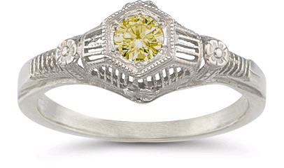 Vintage Floral Citrine Ring in 14K White Gold