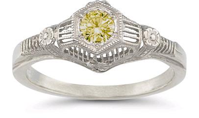 Vintage Citrine Floral Ring in .925 Sterling Silver