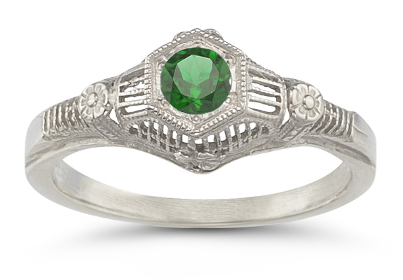 Vintage Floral Emerald Ring in 14K White Gold