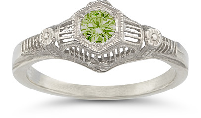 Vintage Floral Peridot Ring in 14K White Gold