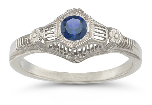 Vintage Floral Sapphire Ring in 14K White Gold - FINAL SALE - Size 7