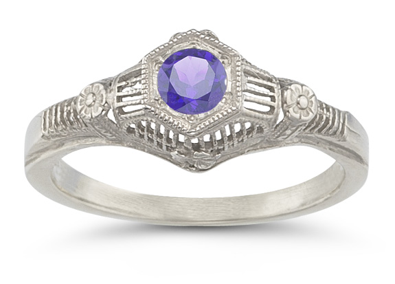 Vintage Floral Tanzanite Ring in 14K White Gold