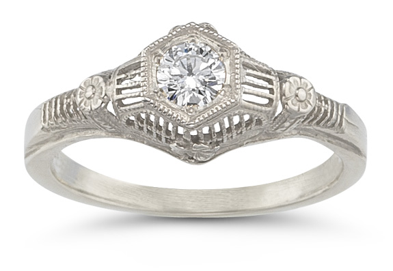 Platinum 1/4 Carat Vintage Floral Diamond Engagement Ring