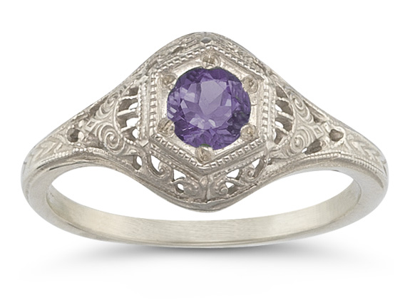 Enchanted Amethyst Ring in 14K White Gold