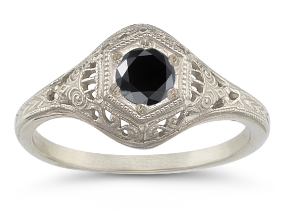 Antiqued Black Diamond Ring in 14K White Gold