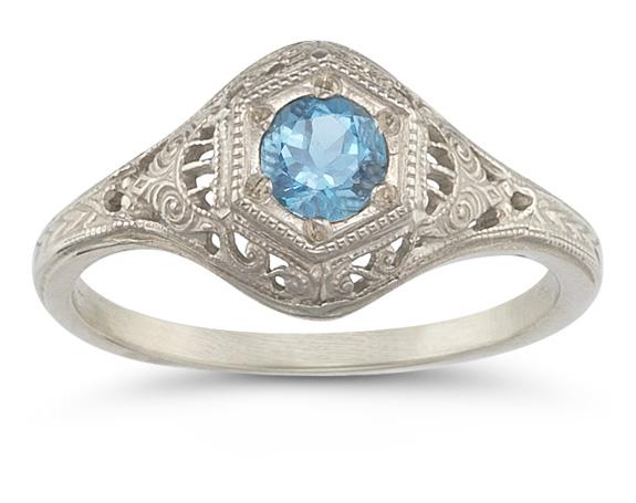 Antique Replica Blue Topaz Ring in 14K White Gold