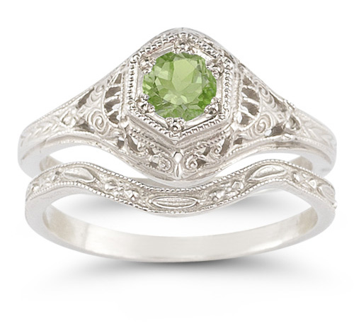 Enchanted Peridot Bridal Set in .925 Sterling Silver