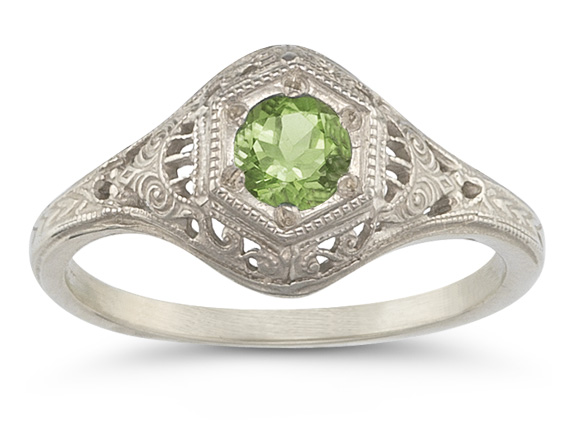Enchanted Peridot Ring in 14K White Gold