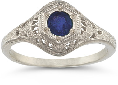 Victorian-Style Blue Sapphire Ring, 14K White Gold