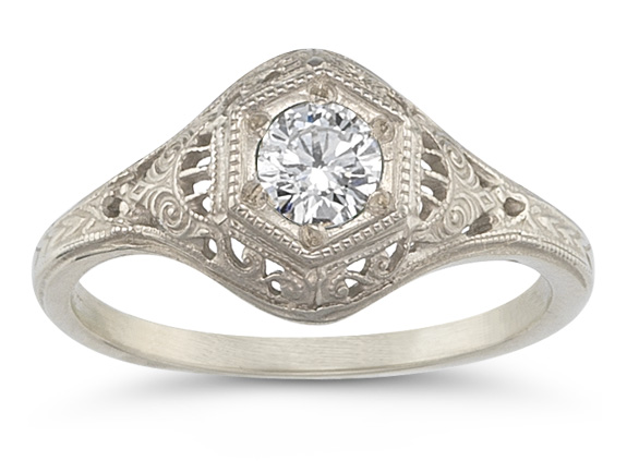 Antique-Style CZ Engagement Ring in 14K White Gold