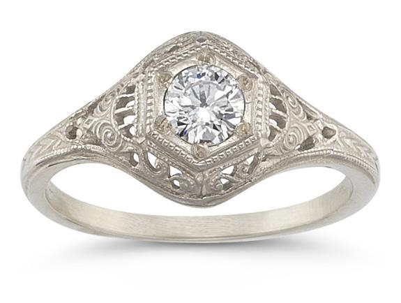 Antique-Style Diamond Ring in 14K White Gold (0.35 Carat)