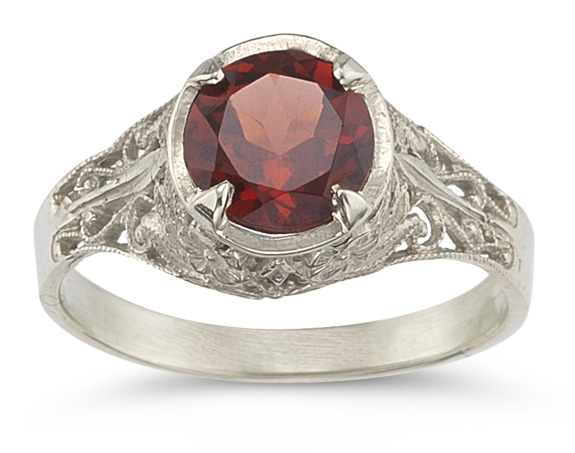 Victorian Floral Garnet Ring in 14K White Gold