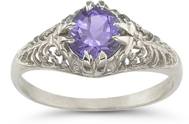Mythical Amethyst Gemstone Ring in 14K White Gold