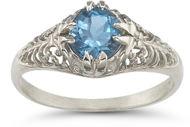 Mythical Blue Topaz Ring in 14K White Gold