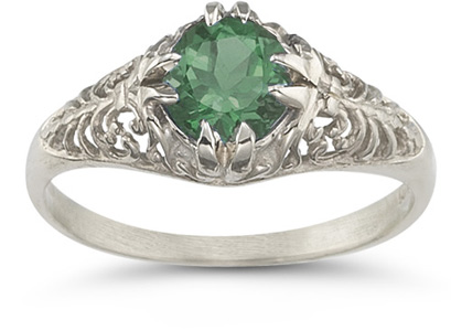 Mythical Emerald Ring in 14K White Gold