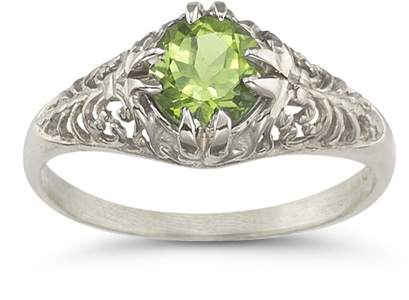 Mythical Peridot Gemstone Ring in 14K White Gold