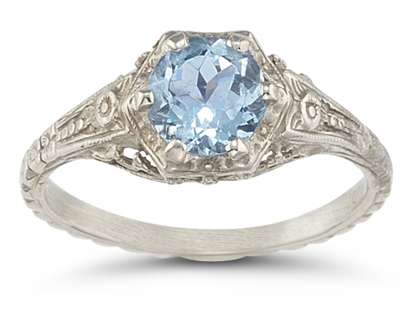 Vintage Floral Blue Topaz Ring in 14K White Gold