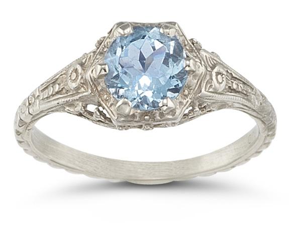 Vintage Floral Blue Topaz Ring in .925 Sterling Silver