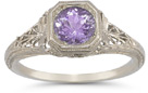Vintage Filigree Amethyst Ring in .925 Sterling Silver