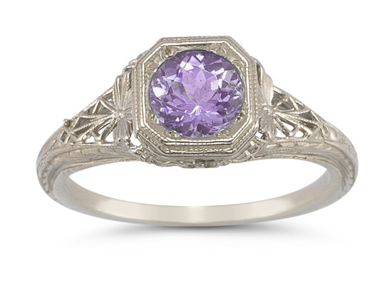 Vintage Filigree Amethyst Ring in 14K White Gold