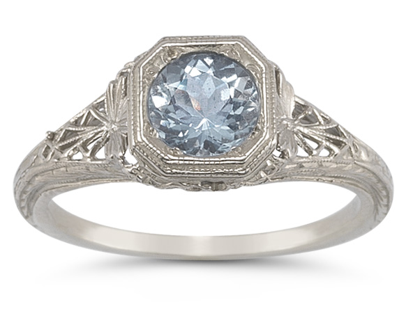 Vintage Filigree Aquamarine Ring in 14K White Gold