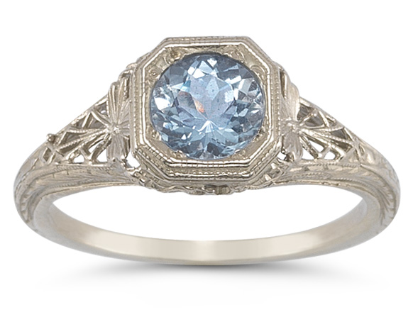 Vintage Filigree Sky Blue Topaz Ring in 14K White Gold