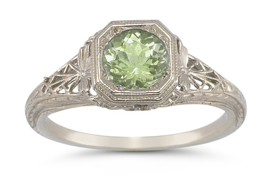 Vintage Filigree Peridot Ring in 14K White Gold
