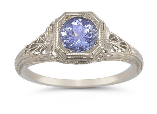 Vintage Filigree Tanzanite Ring in 14K White Gold