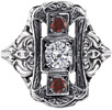 1800s Era White Topaz and Garnet Three Stone Ring, 14K White Gold