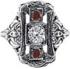 Three Stone Victorian-Era Style Ruby and Diamond Ring, 14K White Gold