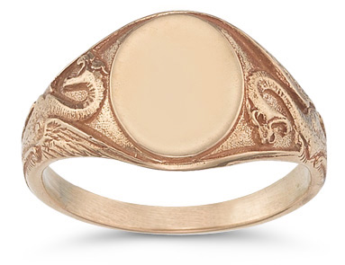Welsh Dragon Signet Ring, 14K Rose Gold (Rings, Apples of Gold)
