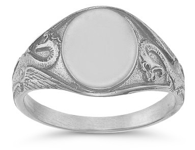 Welsh Dragon Signet Ring in 14K White Gold