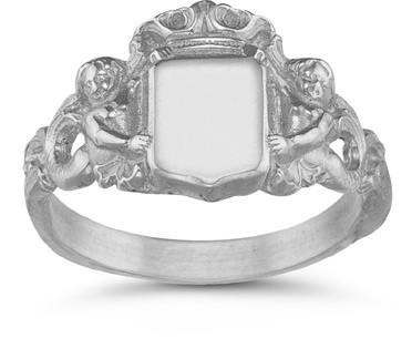 Royal Mermaid Signet Ring in 14K White Gold